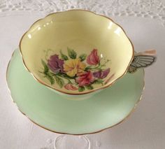 Butterfly Handle Paragon China Tea Cup & Saucer Teacup Duo