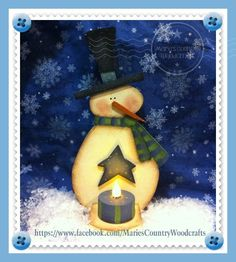 Snowman Tea Light Holder painted by me using a Cyndi Combs design.