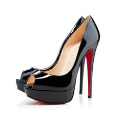 Lady Peep Black Patent Leather 150mm Pumps