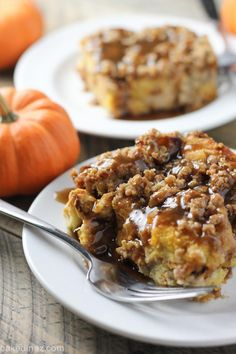 OVERNIGHT PUMPKIN CREAM CHEESE FRENCH TOAST September 29, 2015 By bakedinaz 2 Comments  Overnight pumpkin cream cheese french toast has a layer of cheesecake like filling then topped with a pecan or oat streusel! Baked Overnight Pumpkin French Toast