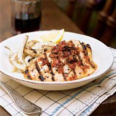 Salmon Trout with Garlic and Grilled Fennel by Cooking Light Fish Recipes, Seafood Recipes, Bonefish Grill, Fennel Recipes, Fennel Seeds, Fresh Lemon Juice, Cooking Light, Serving Platters