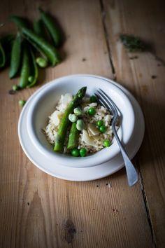 Risotto aux asperges, fèves et petits pois