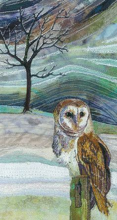Embroidred textile art by Rachel Wright