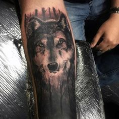 Night Forest Wolf Mens Forearm Sleeve Tattoos