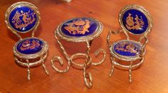 Beautiful Limoges Miniature Gold -French Porcelain Table & Chairs Set -Fragonard