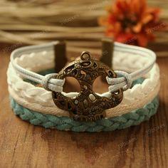 Punk Bracelet - Pirate skull bracelet in antique bronze, bracelet for girls and boys. $7.99, via Etsy.
