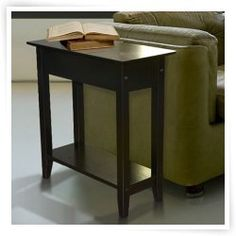 Convenience Concepts American Heritage Rectangle Black Wood End Table with Flip Top and Shelf  This table is to be placed next to couch in Max's office