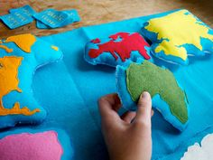 Handmade Montessori Work - Wool Felt Continent Geography learning tool by Aly Parrott on Etsy.