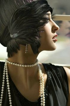 Tocado años 20 The Great Gatsby, Great Gatsby Fashion, Roaring 20s Fashion, Look Gatsby, Gatsby Style, Gatsby Girl, 30s Style, Girl Style, Vintage Glamour