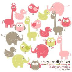 Animal Clip Art NEW  baby animal clipart -  giraffe elephant clip art  - Set 2. $10.95, via Etsy.
