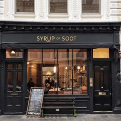 Syrup of Soot coffee shoppe, England Building Front, Building Facade, Chocolate Shop, Store Fronts, British Museum, Wall Colors, Coffee Shop, Bistros, Exterior