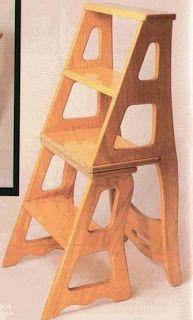 Ah! E se falando em madeira...: Cadeira - escada conversivel