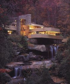 Falling Water - Frank Lloyd Wright... Very modern but entirely designed to make the most of the setting. Love that!