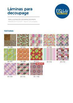 Las láminas EqArte son ideales para realizar técnicas de Decoupage sobre diversas superficies, vienen en formato 31.5cm x 31.5cm, en papel de ilustración de 115grs. con una película de Barniz Antifrote, este tratamiento permite que las mismas puedan ser barnizadas, laqueadas o usadas como fondo para pintar, sin la que la tinta de impresión se remueva. Las láminas Eq arte reúnen excelente calidad y precisión en la impresión y los diseños, forman la línea 93 modelos distribuidos en 13…