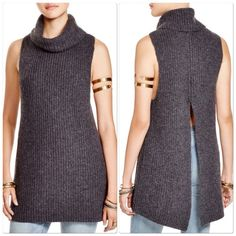 Free People Turtleneck Vest Beautiful ribbed knit free people back split charcoal gray knit tunic vest pullover . Nwt . Size large Free People Sweaters