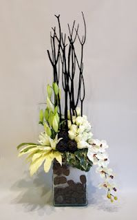 tropical flower arrangement with orchids