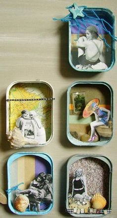 - Baskets and Boxes - mixedmedia belles baigneuses mixedmedia beautiful bathers. Shadow Box Kunst, Shadow Box Art, Matchbox Crafts, Matchbox Art, Altered Tins, Altered Art, Paper Art, Paper Crafts, Tin Art
