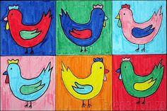 Kippen in de stijl van Andy Warhol