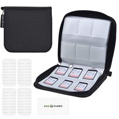for Storage and Travel,SHOOTING SD Card Holder,SD Card Case,Memory Card Case-24 Slots Fits up to SD x 18,CF x 4 Grey