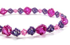 Victorian Crystal in Fuchsia, Purple and Light Pink Handmade Bracelet #235    This beautiful handmade bracelet, named Victorian Crystal, was made