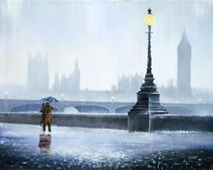 Falling In Love Again(Contemporary) by Jeff Rowland - Paintings & fine art pictures available on discounted prices Pop Art Studio, Rain Photo, Falling In Love Again, English Artists, Love Painting, Contemporary Artists, Creative Art, Statue Of Liberty, Retro Vintage