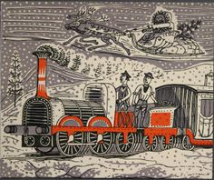 """The Titfield Thunderbolt"" by Edward Bawden (Christmas Card design for the film's producers)"