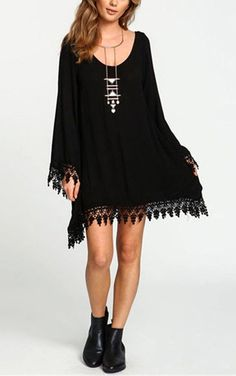 Women Sexy Chiffon Lace Tassels Black Dress Fashion  Long Sleeve Plus Size Blouse Dress