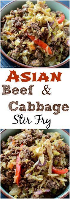 Easy Asian Beef & Cabbage Stir Fry!  use organic Tamari instead of plain soy & organic everything
