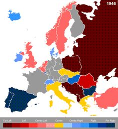 Political orientation in Europe over the time