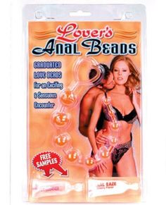 """Lover's Anal Beads - Pink by ABD. $19.99. Desensitizes; PVC; Lube Included. One of the most sensitive and sensual erogenous zones on the human body is the anus. By inserting and extracting slowly in the heat of lovemaking, these graduated, soft anal beads are a sure way to arouse and delight your lover. Used at the right moment with a gentle, yet fast pull, an explosive climax is easily achieved. The smallest bead is 3/16"""", then the beads graduate in size to the final be..."""