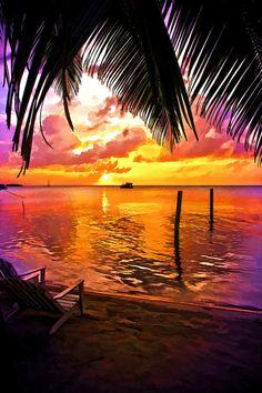 ~~Last Light On Caye Caulker ~ orange and lavendar sunset as the sun slides over the horizon, Belize by Lee Vanderwalker~~