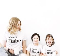 Modern Babe & Bébé What warms your heart in the morning other than a huge cup of coffee. cheeky little smiles! Mommy And Me Shirt, Mommy And Me Outfits, Toddler Outfits, Kids Outfits, Toddler Fashion, Boy Fashion, Baby Clothes Canada, Bebe Shirts, Monochrome Fashion