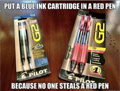 Stop rampant pen hijacking by stealthily hiding a blue ink cartridge in a red pen. | Stop rampant pen hijacking by stealthily hiding a blue ink cartridge in a red pen.