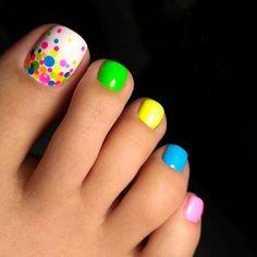 Wonderful Toe Nail Art Designs Ideas 2018 – Nails C - Diy Nail Designs Cute Toe Nails, Toe Nail Art, Diy Nails, Bright Toe Nails, Neon Toe Nails, Acrylic Nails, Simple Toe Nails, Pretty Toe Nails, Colorful Nails