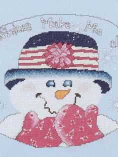 Snowflake Smiles FREE cross-stitch pattern download. Find this pattern at FreePatterns.com.