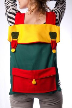 big laptop backpack color block green yellow red with by Marinsss Big Backpacks, Unique Backpacks, Colorful Backpacks, College Backpacks, Canvas Backpacks, Crochet Backpack, Diaper Bag Backpack, Laptop Backpack, Diaper Bags