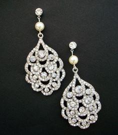 Bridal Pearl Earrings,Wedding Pearl Earrings,Bridal Rhinestone Earrings, Ivory Swarovski Pearls, Peacock Rhinestone Earrings,Pearl,SUSANE. $45.00, via Etsy.