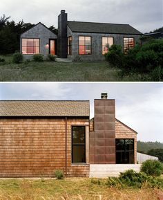 13 Examples Of Modern Houses With Wooden Shingles // The copper chimney that connects the two wings of this beach house works well with the color of the wood shingles on the side.