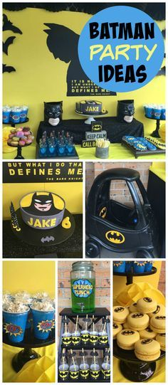 A Batman themed boy birthday party with a Batmobile, superhero punch, macarons, and popcorn! See more party planning ideas at CatchMyParty.com!