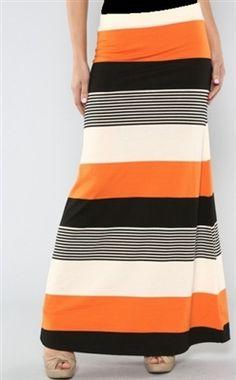 Orange Striped Maxi Skirt