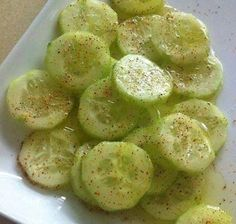 Be careful as these are addictive!  Be sure and save to your wall to prepare later.    Baby cucumber  Lemon juice  Olive oil  Salt and pepper  Chile powder    Chop a baby cucumber and add lemon juice, olive oil, salt and pepper and chile