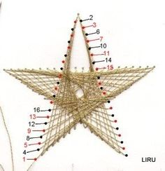 stitching the star Embroidery Cards, Hand Embroidery Stitches, Embroidery Patterns, String Art Templates, String Art Patterns, Arte Linear, Stitching On Paper, Crochet Doily Patterns, Doilies Crochet