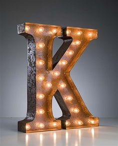 Vintage Marquee Lights Letter K by VintageMarqueeLights on Etsy I could just buy it instead of making design designs house design home design Marquee Letters, Marquee Lights, Wall Lights, String Lights, Typo Vintage, Led Neon, Light Up Letters, Home Decor Items, Decoration