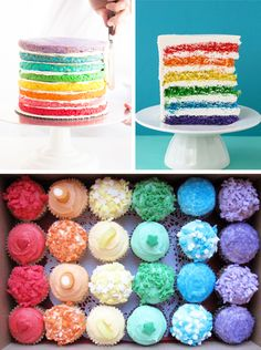 rainbow cake, so colorful and fun! You could probably do this with pancakes and food coloring too and use whipped cream instead of frosting.