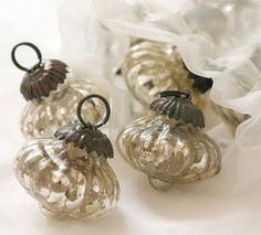pretty mercury glass baubles - Mercury Glass Christmas Decorations