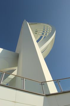 Thomas.Sutton© Spinnaker Tower Extreme Angle, use of building shape and shadows produced by the late afternoon sunlight.