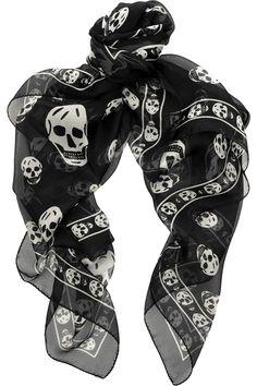 Skull Print Silk-Chiffon Scarf by Alexander McQueen Chiffon Scarf, Print Chiffon, Silk Chiffon, Alexander Mcqueen Skull Scarf, Mcqueen 3, Pin Up, Black Skulls, Skull Print, Fashion Seasons