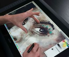 """Unleash your imagination as you create art using the HD touch pen display. The 21.5"""" HD screen allows you to work naturally and intuitively by letting you edit your work directly on the screen utilizing an advanced pressure and tilt-sensitive pen."""