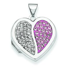 Sterling Silver 18mm Heart Light Rose And White Swarovski Elements Locket ** Quickly view this special  product, click the image : Jewelry Necklaces