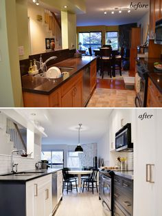 cutlerdesign - beautiful kitchen reno in a small victorian. Love the cabinet colour - BM Witching Hour